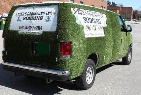 Our grass trucks niko 39 s sodding lawn maintenance for Garden maintenance van
