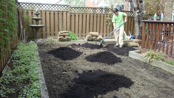 During sodding in Thornhill -Grow max soil