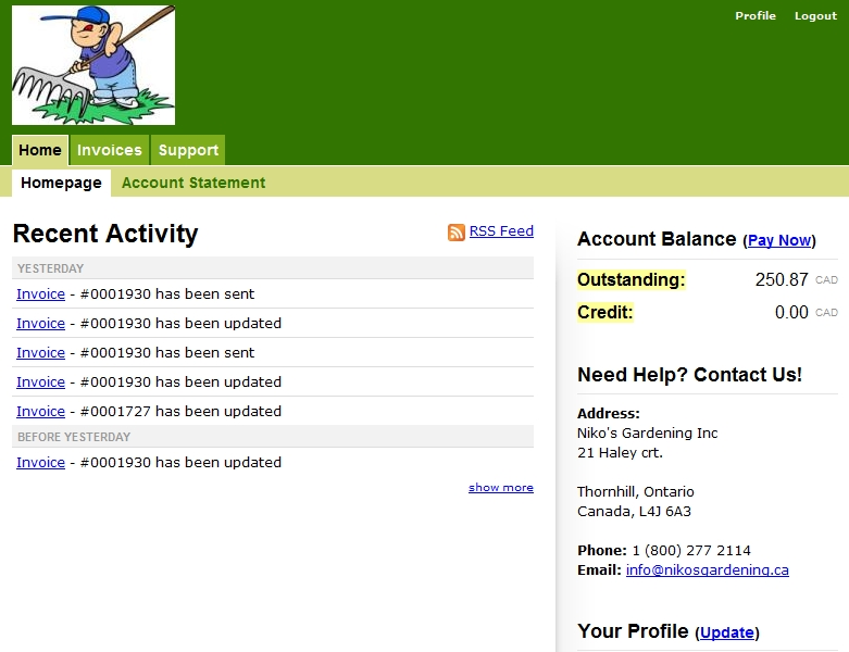 Client account online @ Niko's Gardening (Sodding and maintenance)