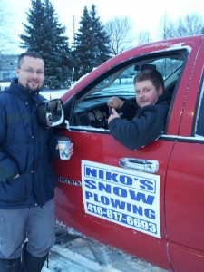 Niko and Greg taking a break after SnowPlowing in Thornhill