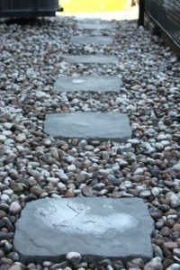 River stone with slabs